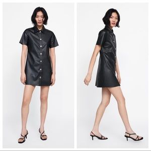 NWT. Zara Black Faux Leather Collared Dress Size M